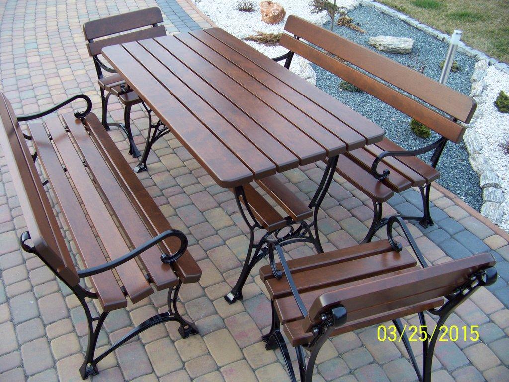 Meble Ogrodowe Królewskie 8 Osobowe Z Podłokietnikiem Stół 150cm 2 ławki 150 Cm 2 Krzesła Stolbar