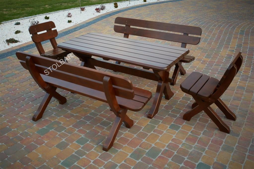 Meble Ekskluzywne 8 Osobowe Stół 160 Cm 2 ławki 150 Cm 2